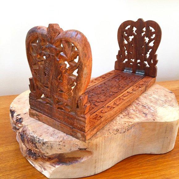 Vintage Wood Carved Expanding Book Shelf